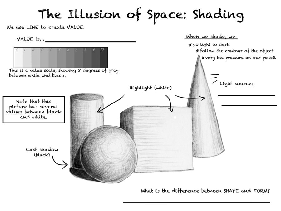 Illusion of space and shading worksheets (MUST COMPLETE BEFORE YOU ...
